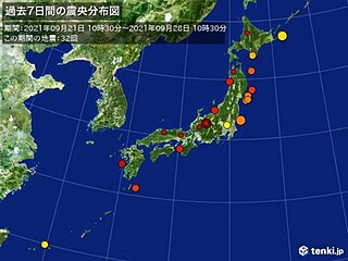 ここ1週間の地震回数 震度3の地震が2回