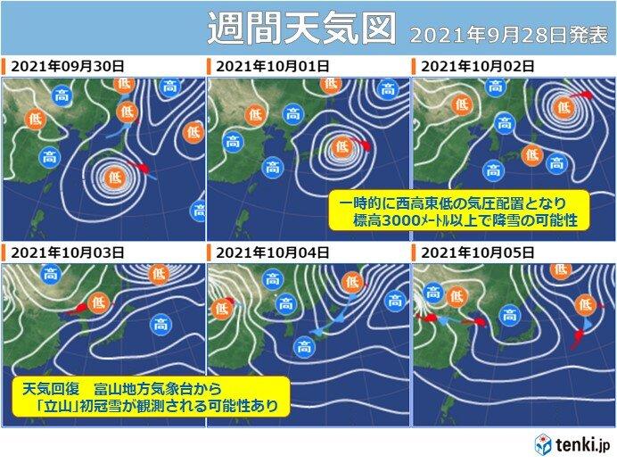 台風の置き土産「立山の初冠雪」まもなくか