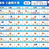 2週間天気 1日は荒天 伊豆諸島に台風最接近 10月前半 暑さ続く