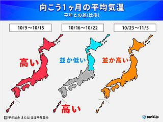 気温の変動が大 紅葉の見ごろは? 服装選びに注意 まだ台風の可能性も 1か月予報