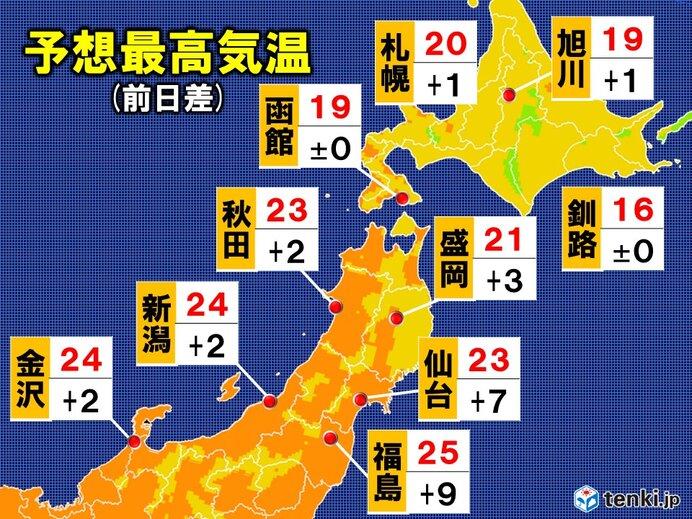 14日 予想最高気温 北海道・東北・北陸
