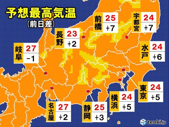 14日 予想最高気温 関東甲信・東海