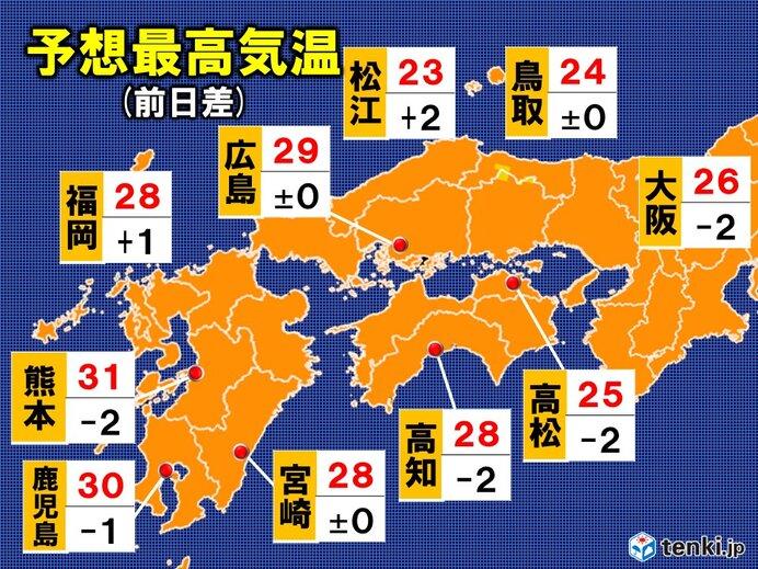 14日 予想最高気温 近畿・中国・四国・九州