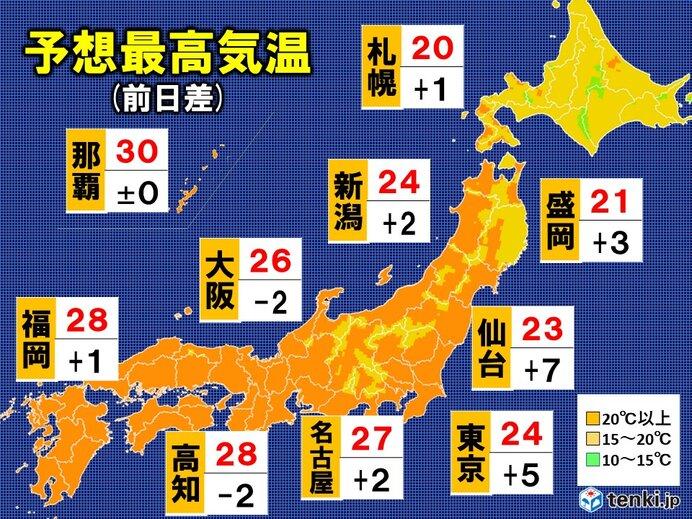 14日 予想最高気温 西日本はまだ真夏日 東・北日本は快適陽気