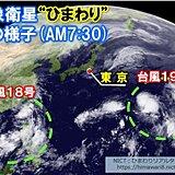 気象衛星ひまわりが捉えたダブル台風の雲