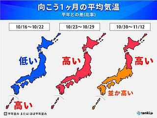 「1か月予報」寒気流入 低温傾向 のち 再び高温傾向 激しい寒暖差に