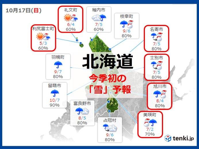 17日日曜~18日月曜 「初雪」「初冠雪」ラッシュか?