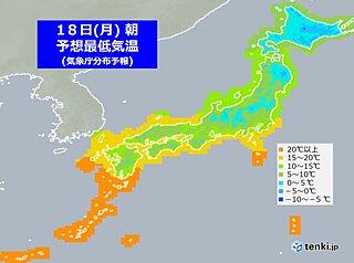 あす18日の朝 通勤は暖かい装いで 関東以西も内陸中心に10℃くらいの所が多く