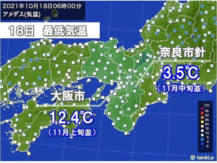関西 急にヒンヤリ11月並みの肌寒さ