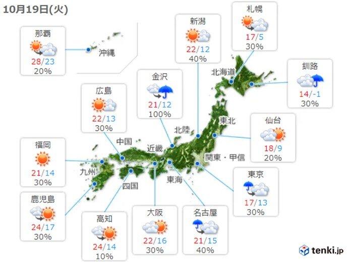 19日(火)の天気 午後は広く雨や雷雨 東海など激しく降る所も