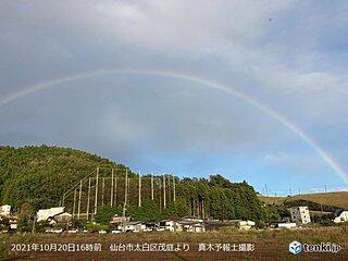 宮城県仙台市 東の空にきれいな虹のアーチ
