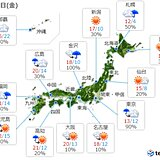 22日(金)の天気 空気の冷たい一日 日本海側は所々で雨や雷雨 関東は冷たい雨