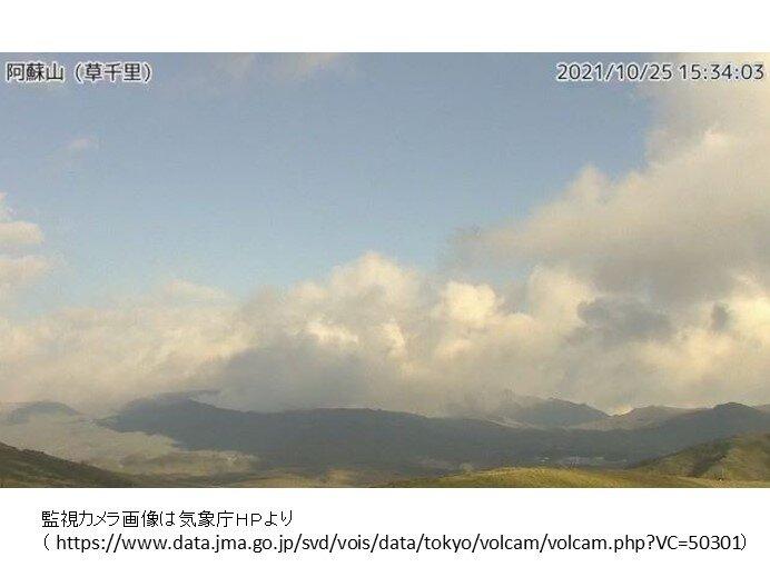 阿蘇山 10月20日の噴火と同程度の規模の噴火が発生する可能性あり