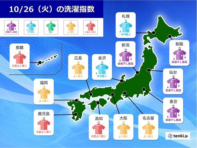 きょう26日(火) 九州から東海は洗濯日和 関東も午後は天気が回復