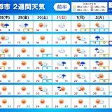 2週間天気 31日(ハロウィン)は不安定な天気の所も