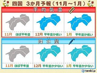 四国地方今週は秋晴れが多い 今冬の寒さは?