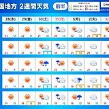 中国地方2週間天気 天気は周期的に変わる 晴れた日は内陸部で雲海を見られることも