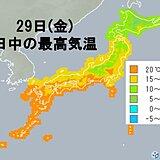 29日(金) 最高気温はきのう28日(木)より低く 風が冷たく感じられそう