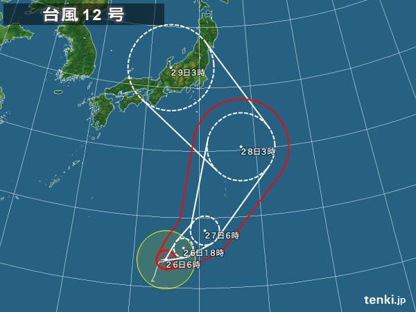 26日 台風北上 東海以西は猛暑続く
