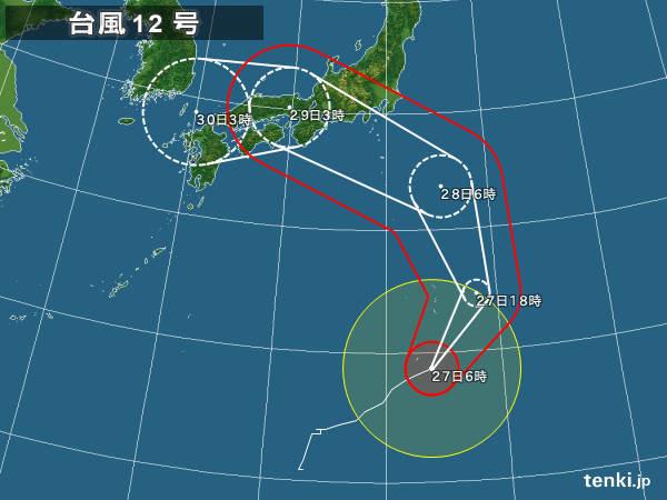 27日 台風12号 強い勢力で北上