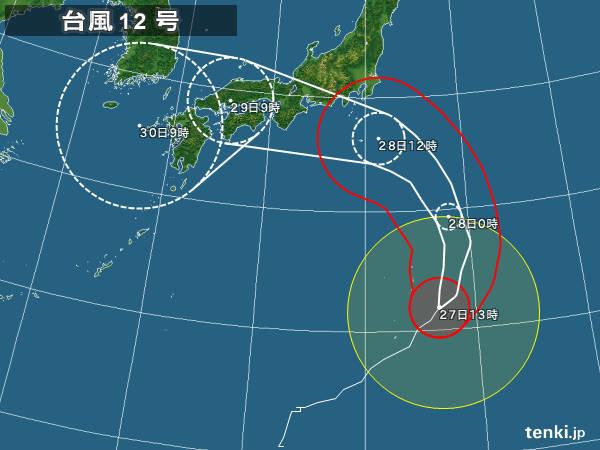 台風12号接近、沿岸は高潮に注意