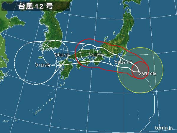 台風12号 夜に関東に最接近