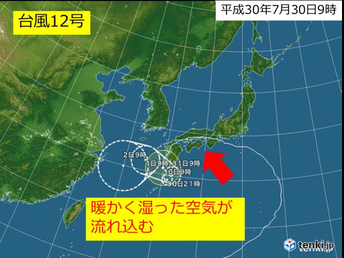 台風12号は九州付近で停滞