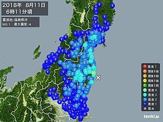 東北地方で地震 福島県浜通りで震度4