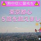 東京都心 早くも気温35度超 熱中症警戒