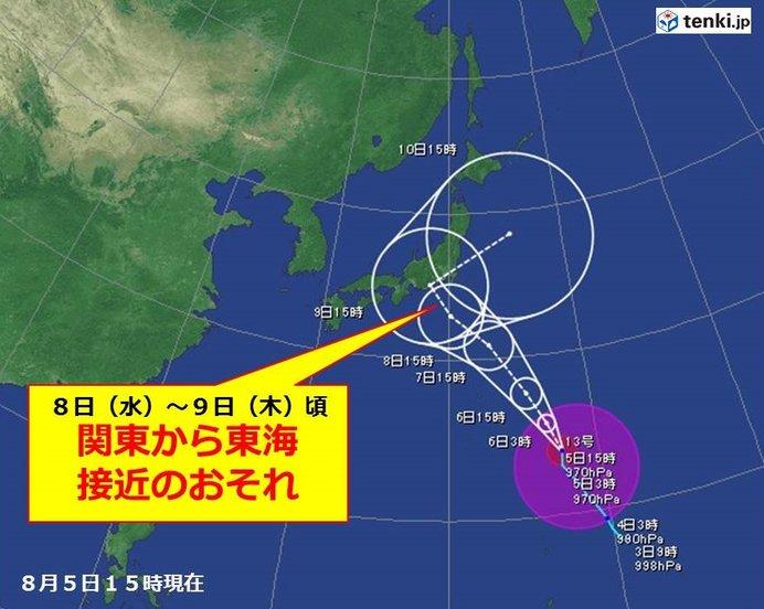 台風は関東・東海に近づくコースが濃厚か