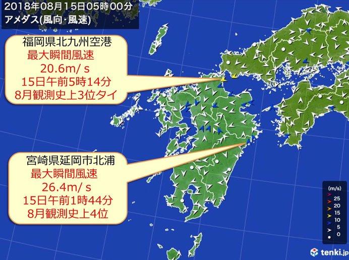 九州 台風15号による強風を観測