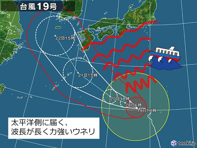 太平洋側はウネリを伴った高波に注意