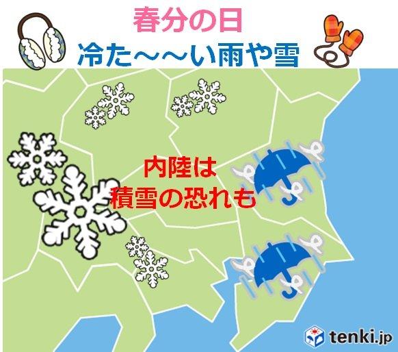 関東甲信 春分は極寒 桜の季節に雪