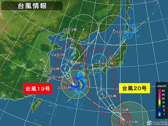 22日 台風19号 局地的雷雨と猛暑
