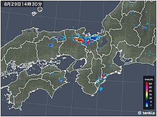 京都府で局地的大雨 1時間に約70ミリ
