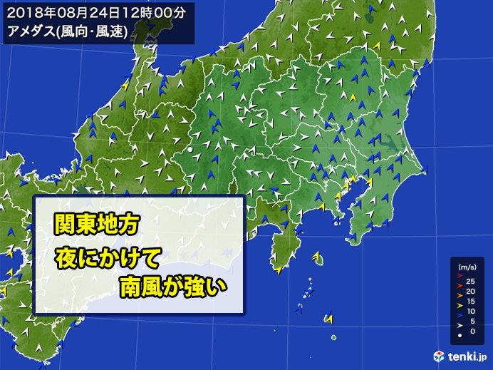 強い南風 都心や横浜で20メートル超