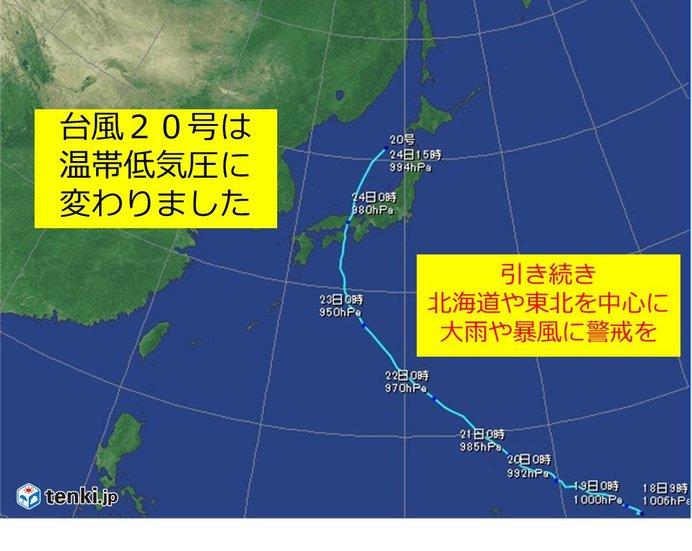 台風20号は温帯低気圧に でもまだ警戒を