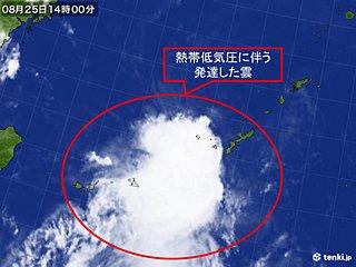 沖縄に熱帯低気圧の雲 激しい雨も