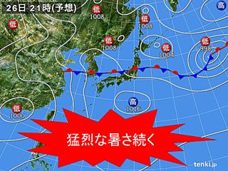 西日本や東海は引き続き熱中症に注意