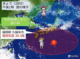 きょう(28日)も猛暑日継続 九州北部