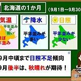 北海道の1か月 9月中頃まで日照不足傾向