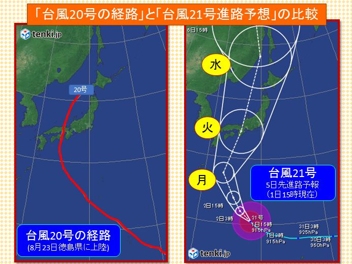 最強台風に警戒、20号に似たコースで直撃