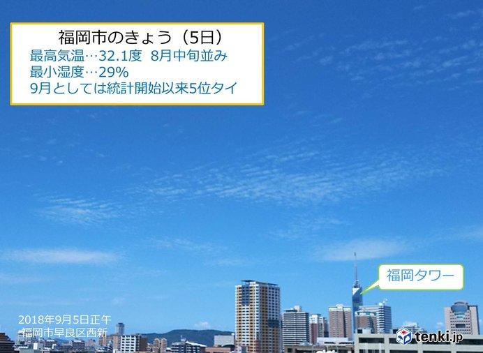 きょう(5日)は乾燥した晴天 福岡