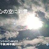 都心の空に色づく雲「彩雲」