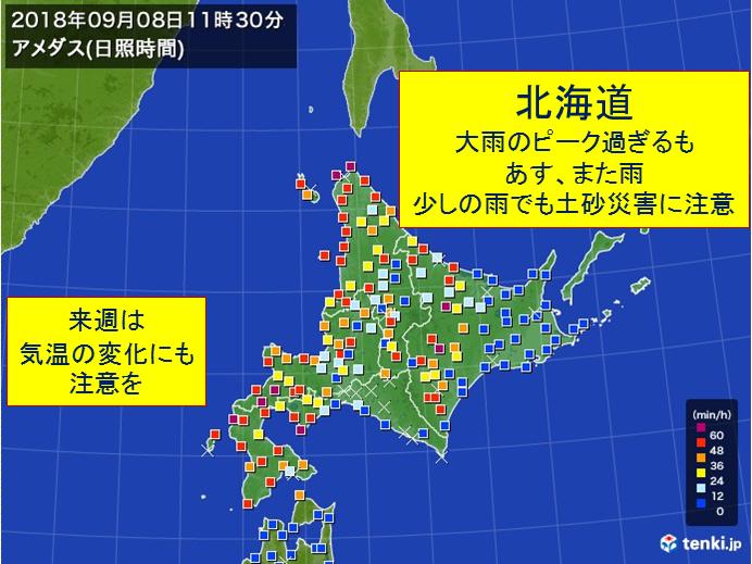 北海道 日曜はまた雨 来週は寒いくらいに