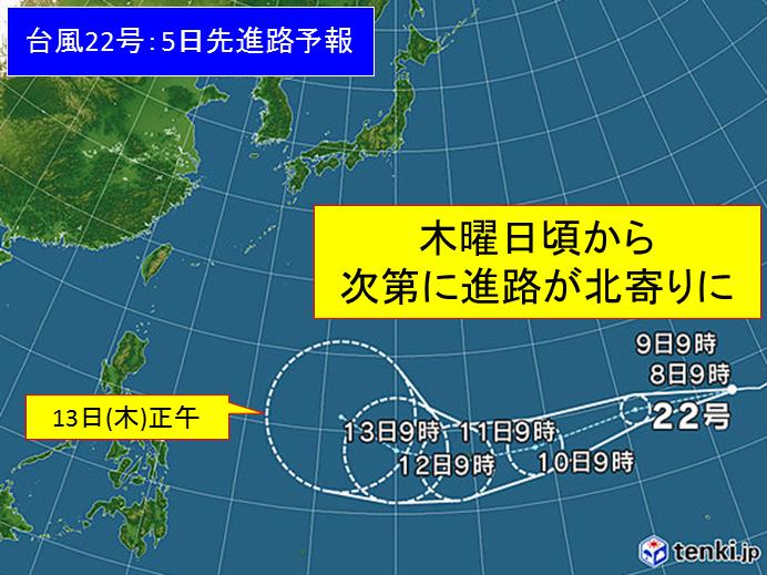 台風22号 月曜には「強い」勢力に発達