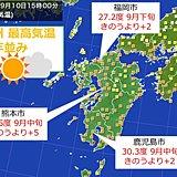 きょう(10日)は肌寒さ解消 九州