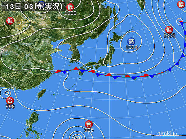 13日の天気 九州~東海 秋雨続く