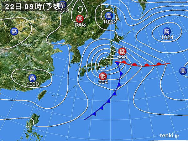 22日も曇りや雨 暖かくなるのは関東