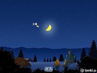 3連休ラストの夜 上弦の月と土星が接近